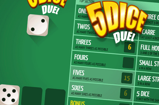 Play 5 Dice Duel - it's like Yahtzee and its at games pbb dot com