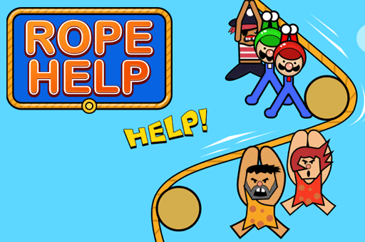 help the stickmen ride the rope to safety